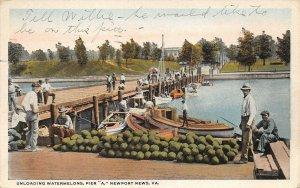 LPS69 Newport News Virginia Unloading Watermelons Pier A Postcard