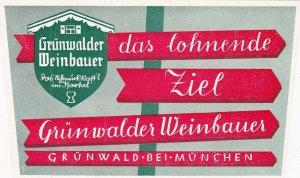 Germany Gruenwald Gruenwalder Weinbauer Hotel Vintage Luggage Label sk2586
