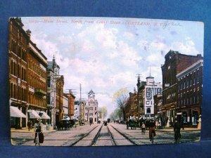 Postcard NY Cortland 1908 View Main Street From Court Street No Cars Women Bikes
