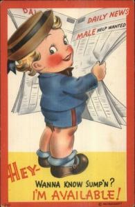 Metrocraft - Cute Little Boy Reading Newspaper Linen Postcard