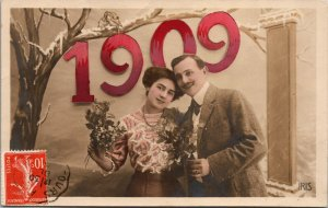 VINTAGE - FRANCE POSTCARD - 1909 - NEW YEAR -  RPPC - POSTED
