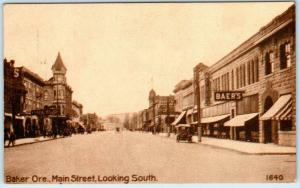 BAKER, Oregon  OR    MAIN STREET Scene looking South  ca 1910s  Postcard