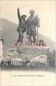 Old Postcard Saussure monument Chamonix