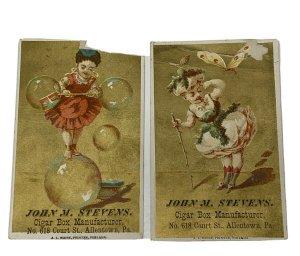 Victorian Trade Card John M Stevens Cigar Box Manufacturer Allentown PA Lot of 2