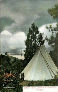 Postcard Native American Indian Teepee Umatilla Reservation Oregon