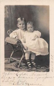 G24/ Milford Michigan RPPC Postcard 1909 Cute Children Chair