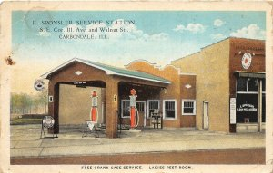 F47/ Carbondale Illinois Postcard c1930s Gas Station Sponsler Service Garage