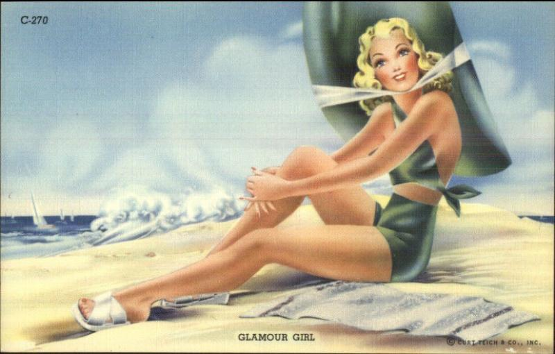 Curt Teich Bathing Beauty GLAMOUR GIRL Linen Postcard Art Deco