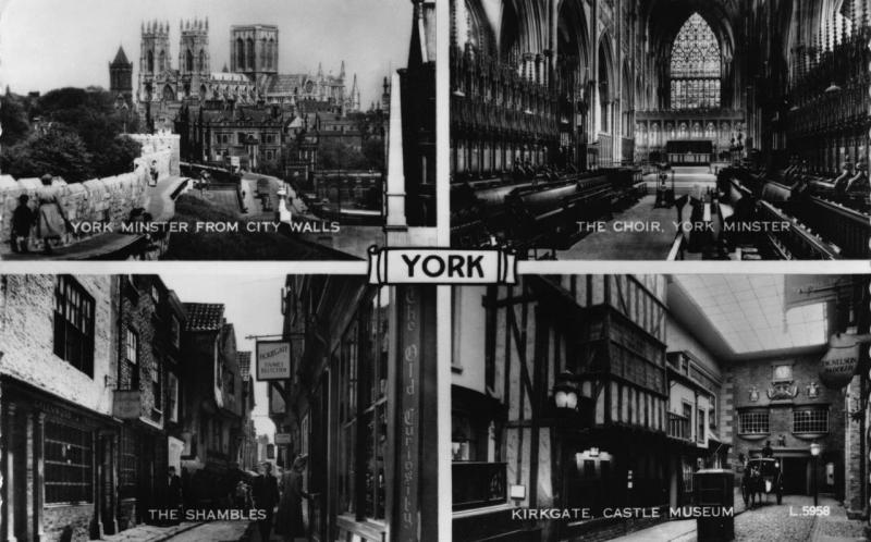 Vintage REAL PHOTO Postcard YORK Multiview Minster Shambles YORKSHIRE Valentines