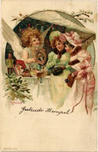 CPA Angels with Presents and Young Ladies – Christmas – Litho ANGELS (777504)