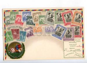 231953 BARBADOS Coat of arms STAMPS Vintage Zieher postcard