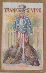 THANKSGIVING, 1910 ; Uncle Sam & RIVALS (Turkey & Eagle)
