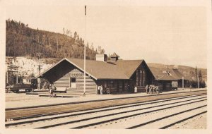 Lake Louis Alberta Canada Train Station Depot Real Photo Postcard JI657875