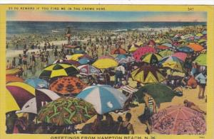 New Hampshire Greetings From Hampton Beach Showing Crowd On The Beach 1950