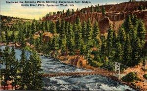 Washington Spokane Down River Park Scene On The Spokane River Showing Suspens...