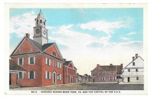 York PA Historic Scene No. 2 Colonial Court House Postcard