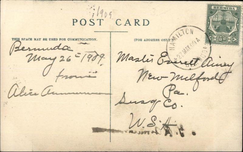 Bermuda Black Men Stone Cutting in Quarry c1909 Used Postcard