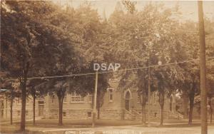 Ohio Postcard Real Photo RPPC 1908 WELLINGTON Congregational Church Building