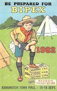 Bipex No. 4 Scouting Postcard Be prepared Boy Scout 1982 Kensington Town Hall