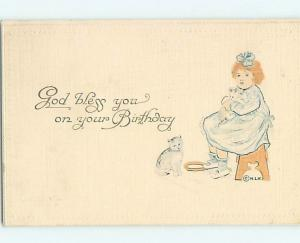 1912 blank back postcard CUTE GIRL WITH HER TO KITTEN CATS AT BIRTHDAY HL6773