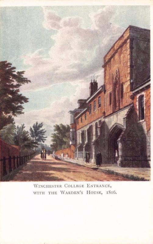 Vintage Art Postcard Winchester College Entrance with the Warden's House (1816)