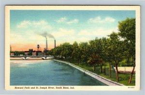 South Bend IN, Howard Park, St Joseph River, Bridge, Indiana Linen Postcard