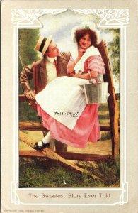 Vintage  Milk Maid Suitor Straw Hat Bonnet Valentine Postcard  - A7