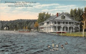 F53/ Lake Brady Kent Ravenna Ohio Postcard c1910 Refreshment Pavilion 4