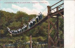Illinois Lasalle County Suspension Bridge At Deer Park Lasalle County