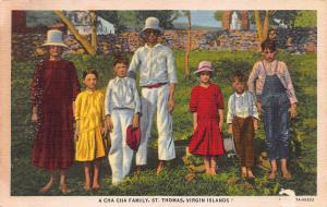 A Cha Cha Family, St. Thomas, U.S. Virgin Islands, early linen postcard, unused