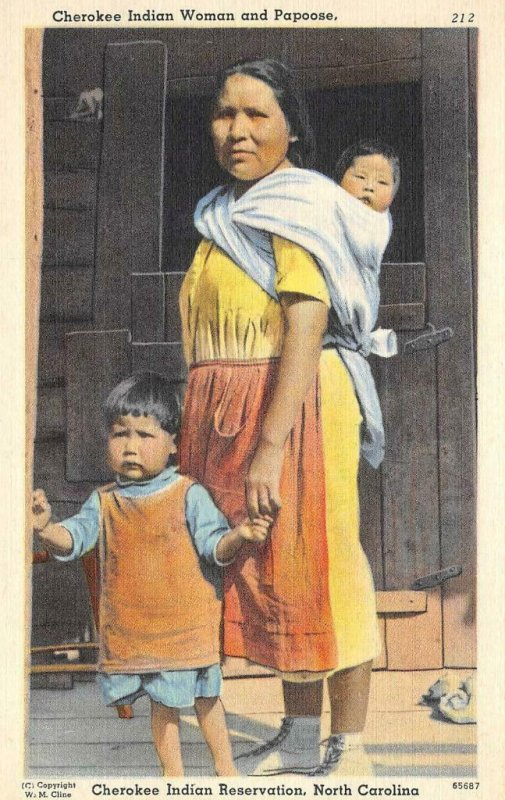 Cherokee Indian Reservation, NC Woman, Papoose Native Americana Vintage Postcard