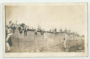 POSTCARD ~ Sailors Drills Climbing  Wall ~US Navy ~  Fleet ~ Circa 1908 ~ 103