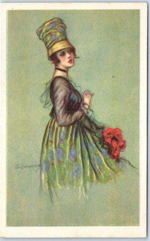 Vintage Italian Artist-Signed Postcard Pretty Lady Hat Dress Fashion Unused