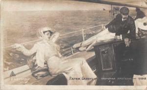 Sailing Scene Woman and Man on Boat Real Photo Antique Postcard J73293