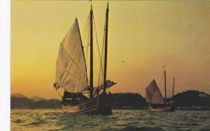 Sail Boats, Fishing, Sunset, HONG KONG, China, 50-70´s