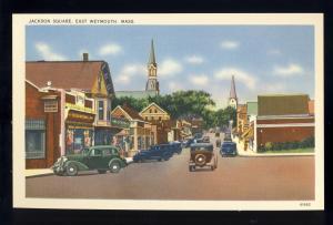 East Weymouth, Mass/MA Postcard, Jackson Square, Old Cars, Near Mint!