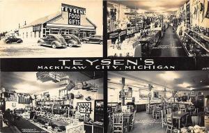 Mackinaw City MI Teyson's Food Gifts Multiview MI Old Cars RPPC Postcard