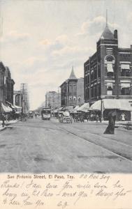 El Paso Texas~San Antonio Street~Pioneer Groceries~Trolley~Water Wagon~1907 B&W