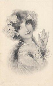 M.M.VIENNE : Woman, Art Nouveau Headdress Portrait #5 , 1901-07
