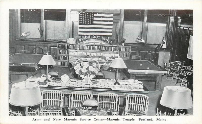 Portland Maine~Masonic Temple~Army U0026 Navy Service Center~Pool Tables~1940s