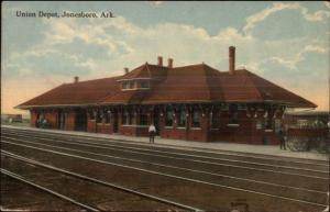 Jonesboro AR Union RR Train Depot Station c1910 Postcard