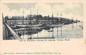 Sailing Ships Waterfront Tacoma Washington 1910c postcard