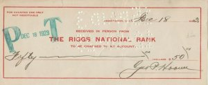 Check ; Riggs National Bank , 1923 ; Teapoy Dome Scandel Related