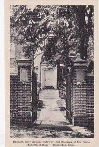 Massachuestts Elizabeth Cary Agassiz Gateway And DoorWay Of Fay House Radclif...
