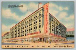Cedar Rapids Iowa~Smulekoff's Home Furnishings Store~Art Deco~1954 Linen Adv PC