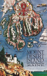 MOUNT DESERT ISLAND, Maine, 1950-1960's; Map