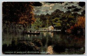 Elgin Illinois~Fox River Canoe~Crowded Boat Landing~Night Lights~Full Moon~1913