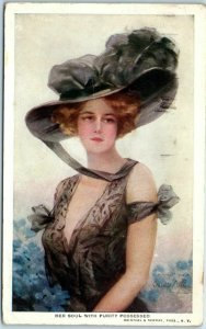 1911 Artist-Signed Postcard Her Soul With Purity Possessed Lady Hat Fashion