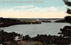 Lake Rosseau Muskoka Lakes Canada scenic view from the bluffs antique pc Z22497
