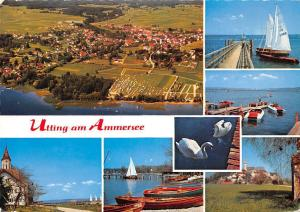 Utting am Ammersee, General view Camping Lake Swan Birds Boats